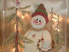 Iluminada de cristal bloque muñeco de nieve por PaintingByElaine