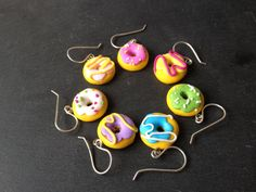Seven Pairs of Kitsch Donut Polymer Clay Earrings