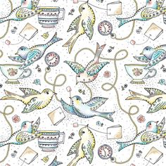 Twittering Tea Party  fabric by heatherdutton on Spoonflower - custom fabric/decal/gift wrap