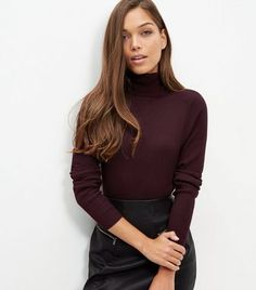 Burgundy Ribbed Turtle Neck Long Sleeve Top  | New Look