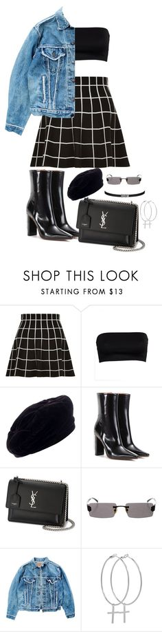 """""""Untitled #67"""" by queen-gold ❤ liked on Polyvore featuring Yves Saint Laurent, Vetements, Levi's and Kiki Minchin"""