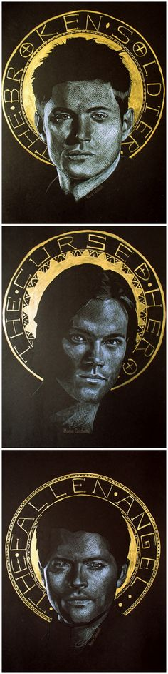 Supernatural Team Free Will Fan Art - The Broken Soldier, The Cursed Hero and The Fallen Angel