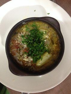 Ajiaco de Cordero, plato chileno muy rico hecho con el cordero del día cocinado a la parrilla.