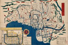 1859 Japanese Map of Edo (Tokyo). 東都分間図 : 以六厘為一町 Creator: Tatsumiya Matashichi. Publisher: Kōji-machi (Japan) : Kinrindō. Vancouver (B.C.) : University of British Columbia Library.