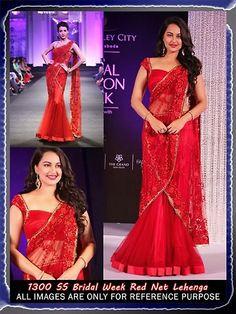 #SonakshiSinha Red Net Lehenga #Saree