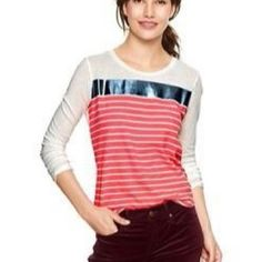 Gap Foil Print Tee with Pink Stripes NWT XS Soft, 100% cotton tee. Long sleeves, banded v-neck. Relaxed, easy fit. Foil and stripes are on front of tee and back is solid white.   ***PRICE IS FIRM - BUY 3 or more and get 20% OFF TOTAL PRICE, Plus pay ship for only 1 item! GAP Tops Tees - Long Sleeve