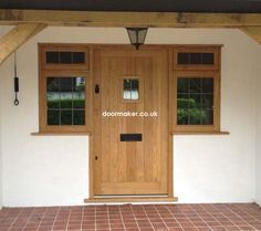 Traditional front doors made from oak and hardwoods Cottage Front Doors, Porch Doors, Cottage Door, Wood Front Doors, House Front Door, Painted Front Doors, Oak Doors, Entrance Doors, Glass Porch