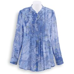 Paisley Pintuck Chiffon Tunic - Women's Clothing – Casual, Comfortable & Colorful Styles – Plus Sizes  44.95 serengeticatalog.com