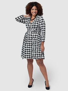 Houndstooth Faux-Wrap Dress