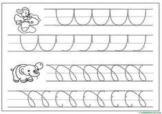 Grafomotricidad para Educación Infantil - Web del maestro Alphabet Tracing Worksheets, Word Search, Math, Animals, File Folder Games, Cursive Letters, Motor Skills, Kids, Math Resources