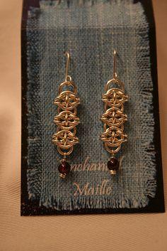Celtic Gold Chain Maille Earrings, w/Garnet Drops
