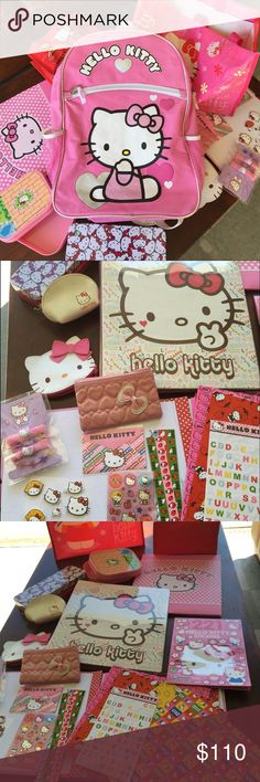 Hello Kitty backpack and lots of acc. Hello Kitty backpack accessories supplies,folder, binder, wallets, pouches, storage box, pencil box, thank you  card envelopes , ABC stickers, pop out stickers stickers and draw book, hair band , bags, with key chain there are 2 bags small and big. Hello Kitty Bags Backpacks