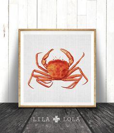 Crab Print, Botanical Marine Life Illustration, Red Orange Crab, Nautical Wall Art Decor, Beach Decor Print, Sea Life, Beach Wall Art, Crab