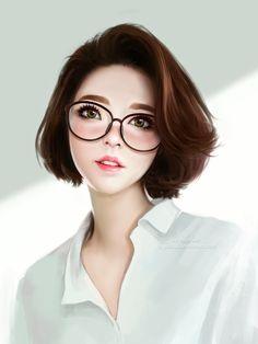anime girls short hair glasses watermarked