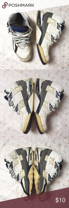 Men's Nike high top sneakers - Size: 11.5 - Condition: used, see photos  - Color: white, gray, blue, sand, black - Style: Nike Air - Extra notes: Nike Shoes Sneakers