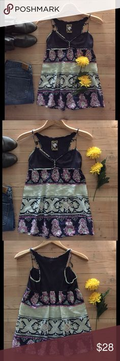 Free People Top 🌼 Darling navy, lavender and cream print Free People tank top with embellishments.  In great, gently used condition. Free People Tops