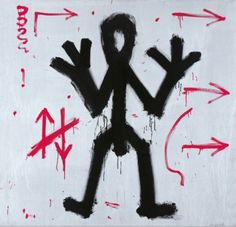 """A.R. Penck, """"Standart"""", 1970-72, synthetic resin on canvas, detail of installation of 31 elements."""