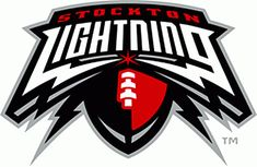 Stockton Lightning Primary Logo on Chris Creamer's Sports Logos Page - SportsLogos. A virtual museum of sports logos, uniforms and historical items. Football Images, Sports Images, Text Design, Logo Design, Graphic Design, Lightning Logo, Arena Football, Gear Logo, Drums Art