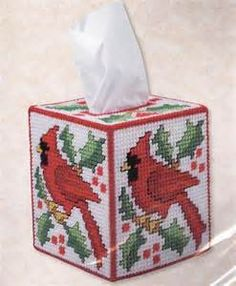 ... about CARDINAL Kleenex TISSUE BOX COVER PLASTIC CANVAS KIT ~ New