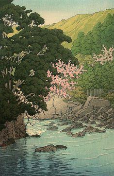 Spring in Yugashima, Izu Hasui Kawase