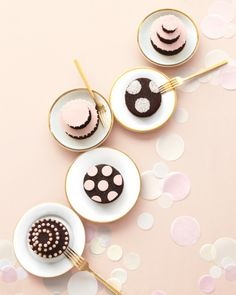 Find out how to make these fun spotted mini cakes for your bridal shower or wedding #marthastewartweddings