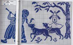 un solo color   Aprender manualidades es facilisimo.com Crochet Birds, Asatru, Blue Cross, Cross Stitch Samplers, Filet Crochet, Delft, One Color, Blackwork, Cross Stitch Patterns