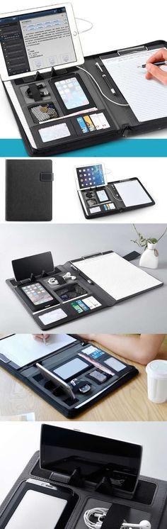A4 Padfolio Office Stationery Organizer iPad Phone Holder Writing Pad Business Presentation Folder Work Station Clipboard Lap Desk