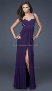 La Femme 16538 Beaded Eggplant Sweetheart Pleated Chiffon Prom Dresses   $145.00