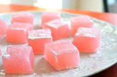 Turkish Delight..   lemon and rose-water flavored jelly confections made from sugar and starch.
