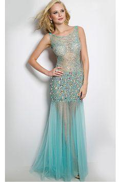 Tulle Sheath Floor-length Scoop Prom Dresses