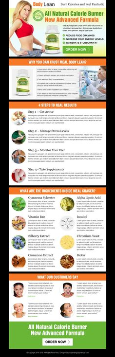 all natural calorie burner new advance formula product selling landing page design