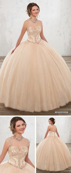 Mary's Quinceanera Style 4806 • Sparkling tulle quinceanera ball gown features strapless sweetheart neck line, beaded bodice, basque waist line, and lace-up back. Detachable shoulder straps included.