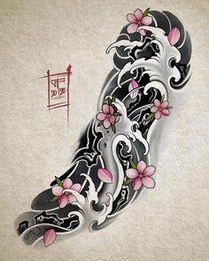 Japanese Forearm Tattoo, Japanese Wave Tattoos, Japanese Tattoo Designs, Japanese Sleeve Tattoos, Best Sleeve Tattoos, Tattoo Sleeve Designs, Body Art Tattoos, Leg Tattoos, Japanese Tattoo Women