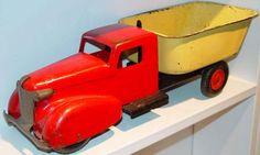 Antique Toys, Vintage Toys, Vintage Antiques, Metal Toys, Tin Toys, 1980 Toys, Flea Market Style, Dump Truck, Toy Trucks