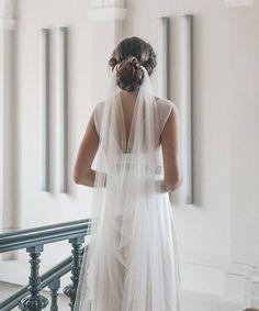 Draped veil Wedding veil Boho veil Soft English tulle