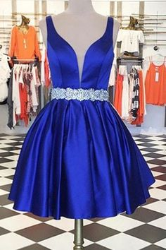 Royal Blue Short Homecoming Dress with Beadings Custom Made Cute Short Cocktail Dress Fashion Short Beaded School Dance Dresses Short Women's Fashion Dresses Cute Short Prom Dresses, Royal Blue Homecoming Dresses, Royal Blue Dresses, Sweet 16 Dresses, Prom Dresses 2017, Sweet Dress, Royal Blue Short Dress, Blue Gown, Bridesmaid Dresses