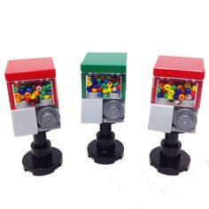 MinifigurePacks: Lego® Minifigure Accessory Bundle (3) Candy/Bubble Gum Machine Dispensers