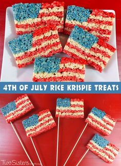 Our 4th of July Rice Krispie Treats are a fun, delicious and easy to make treat for your 4th of July party or Memorial Day BBQ!  For more fun 4th of July Food Ideas follow us at https://www.pinterest.com/2SistersCraft/