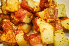 Zesty Italian Potatoes. Red potatoes, Olive oil, packet of Zesty Italian dressing. Wash & cube reb potatoes (leave skin on) Mix Oil & dressing together then rub cubed potatoes in it. put in crock pot on low 6-8 hrs. or on high 4hrs.