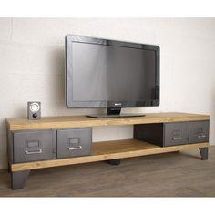 Nous vous proposons ce meuble tv style industriel conçu avec d'anciens tiroirs industriels restaurés et teinté anthracite. Expédition sur toute la France.