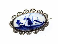 Delft Silver Blue & White Dutch Windmill Brooch (c1960s) by GillardAndMay on Etsy