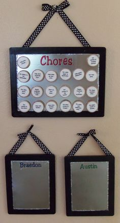 How to organize chores for kids on a daily basis.... sheet metal... chart on magnet.  color code.  put in color code jar by day when complete.