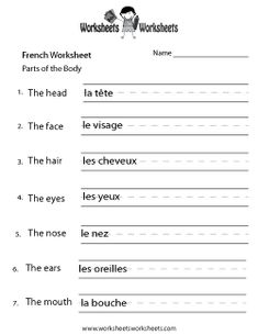 Worksheets Learning French Worksheets days of the week french worksheet this site has lots free body parts worksheet