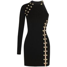 View this item and discover similar for sale at - VERSACE VERSUS + Anthony Vaccarello Part of Versus' collaboration with Anthony Vaccarello, this daring black mini dress has a cutout shoulder and side. Kpop Fashion, Fashion Killa, Girl Fashion, Fashion Outfits, Fashion Goth, Indian Fashion, Fashion Trends, Classy Outfits, Beautiful Outfits