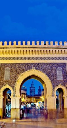 Famous Bab Bou Jeloud gate (The Blue Gate) located at Fez, Morocco
