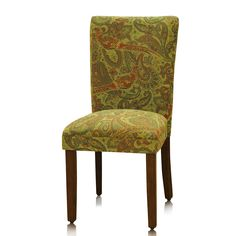Add a stylish touch to your home decor with these peacock paisley chairs. A solid wood and dark finish highlight this set of chairs.
