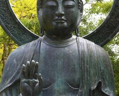 """most effective feng shui cure for protection is the """"No fear"""" - Abhaya Buddha Mudra. If you can find a big enough statue for the front garden of your home, or anywhere near the main entrace Feng Shui Tips for House Protection: Buddha Statue"""