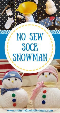 Ten minute festive craft with everyday stuff you probably already have. Make a cute sock snowman which requires no sewing. Sock Snowman Craft, Sock Crafts, Snowman Crafts, Sewing Crafts, Christmas Activities For Kids, Winter Crafts For Kids, Gifts For Kids, Winter Activities, Festive Crafts