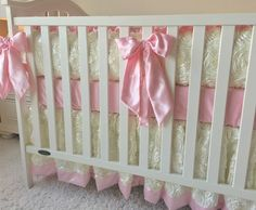 Ivory Roses, Gold Damask, and Pink Crib Bedding