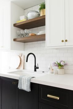 Open shelving in a small bright kitchen